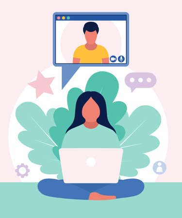 Illustration of conference video call, video call to a friend, study online, business meeting. Colorful flat vector illustration.