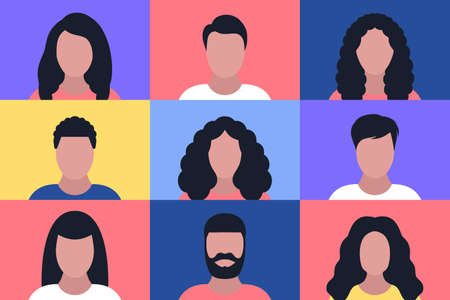 Set of different people portraits. Vector illustration in a flat style Vecteurs