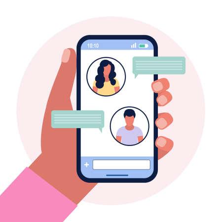 Illustration of online chatting speech bubbles. Colorful flat vector illustration. Illusztráció