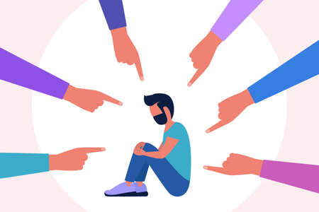 Concept illustration of shame, guilt, censure. Group of people points a finger at a depressed man. Vector illustration in a flat style 일러스트