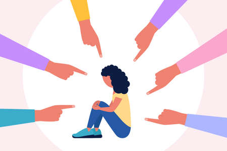 Concept illustration of shame, guilt, censure. Group of people points a finger at a depressed woman. Vector illustration in a flat style 일러스트