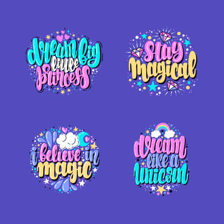 Unicorn hand drawn lettering illustration, text card, poster, lettering print