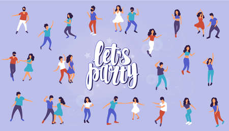 Let's party. Collection of dancing people. Men and women performing dance at school, studio, party. Male and female dancing different styles.