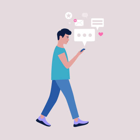 Young man walks and reads or writes a message on a mobile phone. Colorful flat vector illustration