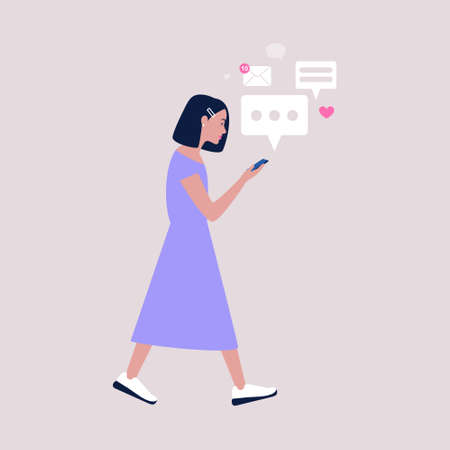 Young woman walks and reads or writes a message on a mobile phone. Colorful flat vector illustration