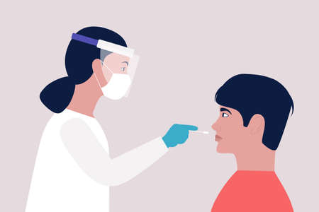 Doctor takes a covid test from a young man. Vector illustration in a flat style Vettoriali
