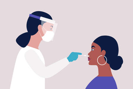 Doctor takes a covid test from a young African woman. Vector illustration in a flat style