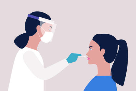 Doctor takes a covid test from a young woman. Vector illustration in a flat style