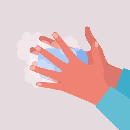 Hand washing. Coronavirus control concept. Vector illustration in a flat style