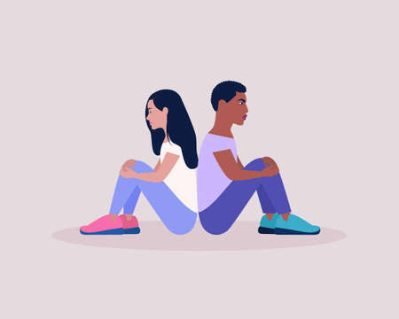 People sitting back to back. Vector illustration in a flat style