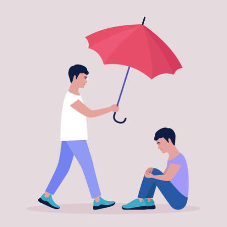 Help and support concept. Young man holding an umbrella over a seated man. Colorful flat vector illustration