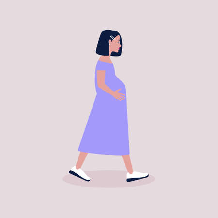 Illustration of pregnant woman. Colorful flat vector illustration.