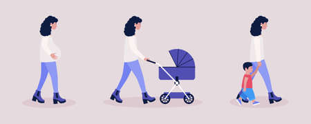 Mother concept. Illustration of pregnant woman, walking woman with a stroller, mother with son. Colorful flat vector illustration.