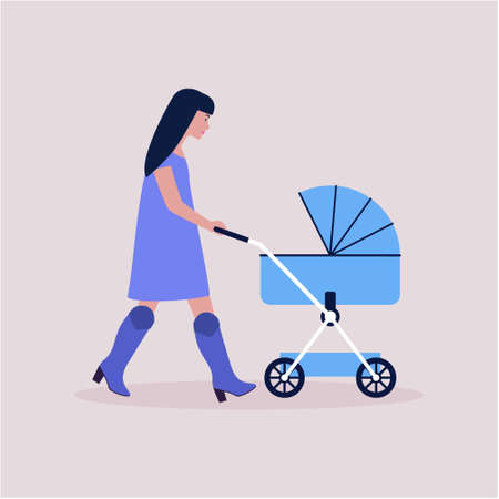 Mom walks with a stroller. Baby sleeps in a stroller. Vector illustration in a flat style.