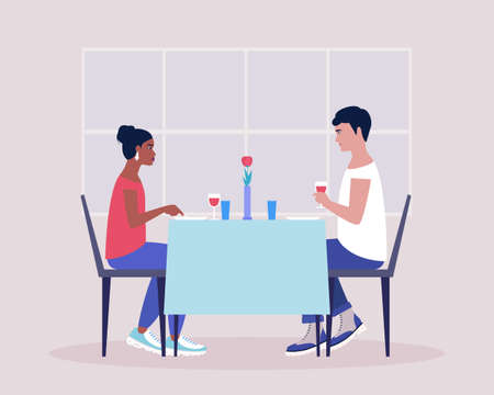 Two friends have dinner in a restaurant. Young couple having dinner in a restaurant. Romantic date. Drink wine. Colorful flat vector illustration.