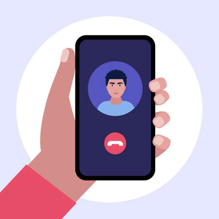 IP telephony. Internet Call. Hand holding smartphone with outgoing call. Colorful flat vector illustration.