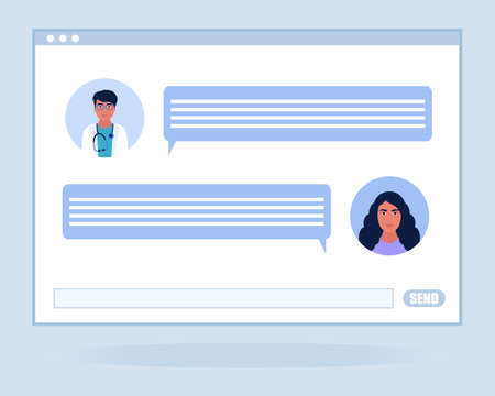 Illustration of online chatting with doctor speech bubbles. Colorful flat vector illustration.