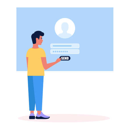 Online registration or sing up concept. Young man logs into the site. Colorful flat vector illustration