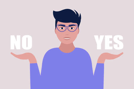 Choice concept. Young man holding yes and no in her arms. Colorful flat vector illustration.