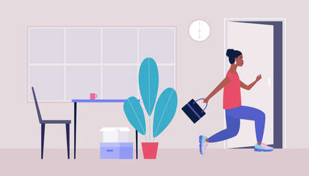 End of the working day. Young woman running to the exit. Vector illustration in a flat style 向量圖像
