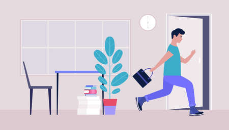 End of the working day. Young man running to the exit. Vector illustration in a flat style