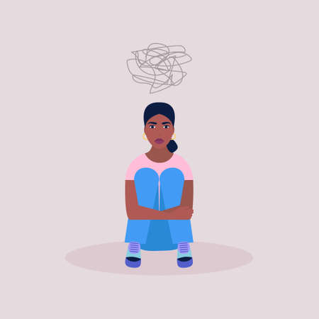 Mental health concept. Women with psychological problems. Vector illustration in a flat style.