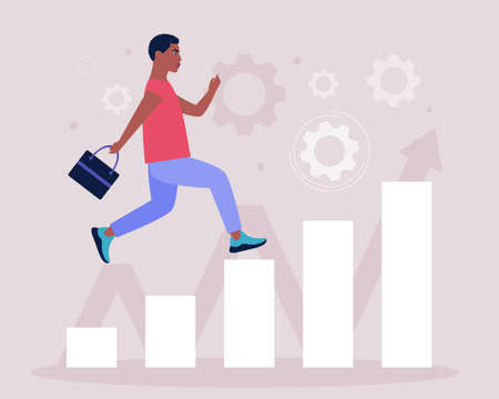 Business analytics and strategy theme. Concept of man running up the career ladder. Vector illustration in a flat style.