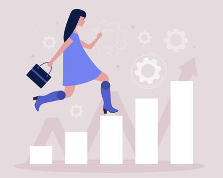 Business analytics and strategy theme. Concept of woman running up the career ladder. Vector illustration in a flat style.
