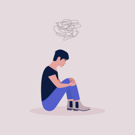 Mental health concept. Women with psychological problems. Vector illustration in a flat style. Ilustracje wektorowe