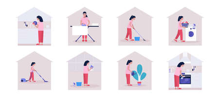 Housekeeping concept. Young woman cleaning the apartment (ironing and washing clothes, vacuuming and washing the kitchen and dishes). Colorful flat vector illustration