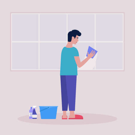 Young man washes the window with a rag. Housekeeping concept. Colorful flat vector illustration