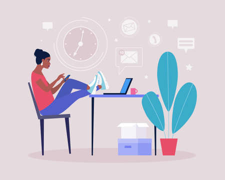 Procrastination concept. Young woman resting or distracted at the phone, watching news feed or social networks. Vector illustration in a flat style