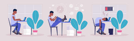 Workflow concept. Procrastination concept. Professional burnout concept. Vector illustration in a flat style Illustration