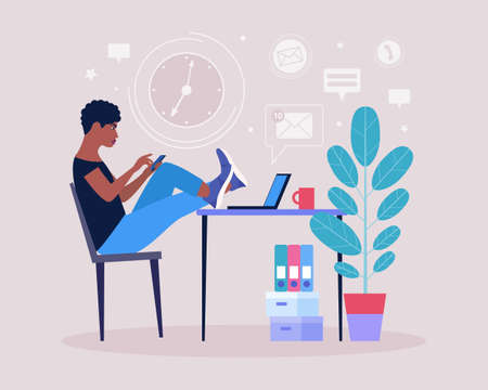 Procrastination concept. Young man resting or distracted at the phone, watching news feed or social networks. Vector illustration in a flat style