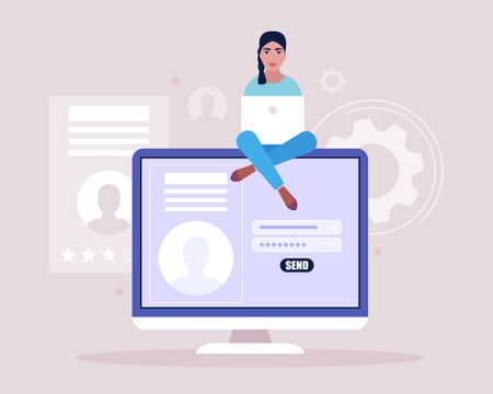 Online registration or sing up concept. Young woman logs into the site. Young woman posting resume for job search. Colorful flat vector illustration