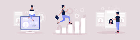 Business analytics and strategy theme. Candidate selection concept. Concept of woman running up the career ladder. Vector illustration in a flat style.