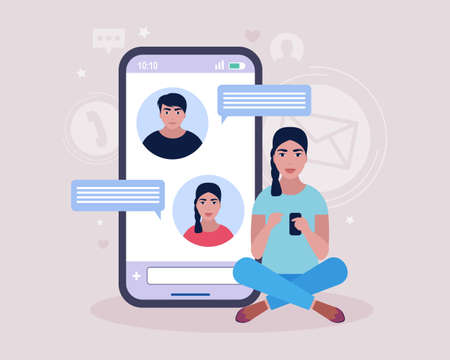 Online chatting concept. Young woman communicates on the smartphone. Colorful flat illustration
