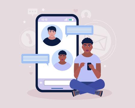 Online chatting concept. Young man communicates on the smartphone. Colorful flat illustration Illusztráció