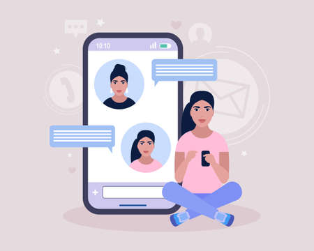 Online chatting concept. Young woman communicates on the smartphone. Colorful flat vector illustration