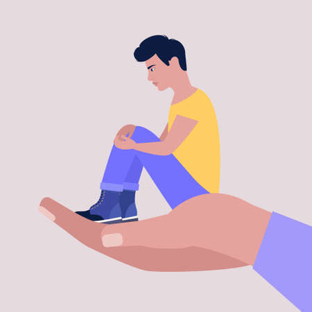 Help and support concept. Young man sitting on a big arm. Colorful flat vector illustration