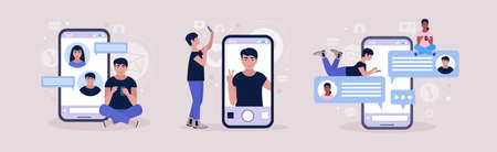 Online chatting concept. Young man communicates on the smartphone. Selfie Concept. Colorful flat vector illustration