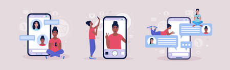 Online chatting concept. Young woman communicates on the smartphone. Selfie Concept. Colorful flat vector illustration