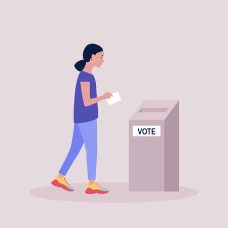 Woman carries his ballot paper to the ballot box. Vector illustration in a flat style