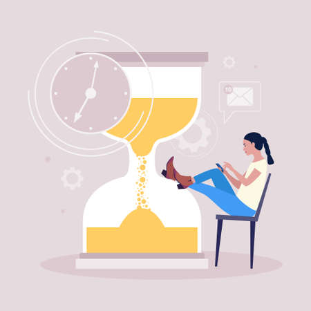 Procrastination concept. Young woman resting or distracted at the phone, watching news feed or social networks against the background of the hourglass. Vector illustration in a flat style Ilustração