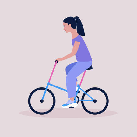 Vector illustration of woman on bicycle. Riding bike. Flat style Ilustrace