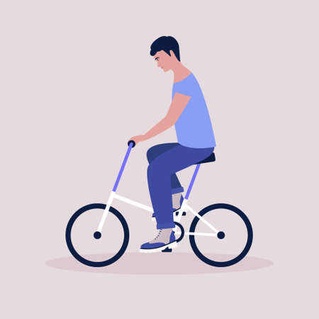 Vector illustration of man on bicycle. Riding bike. Flat style Ilustrace