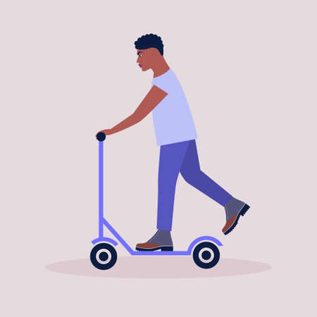 Man on a scooter isolated on a light background. Colorful flat vector illustration.
