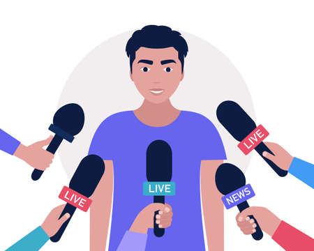 Interview concept. Man with microphones. Popular person, presenter, celebrity, political gives comments and opinions for breaking news, reportage, tv program. Vector illustration in a flat style 向量圖像