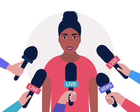Interview concept. Woman with microphones. Popular person, presenter, celebrity, political gives comments and opinions for breaking news, reportage, tv program. Vector illustration in a flat style