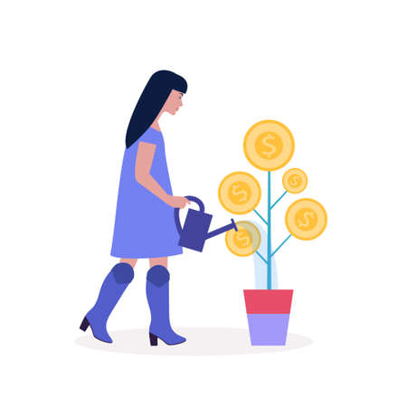 Business investment concept. Young woman waters the plant with coins. Vector illustration in a flat style Ilustração
